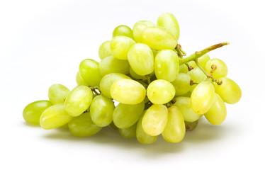 Fototapete - Fresh green grapes isolated on white