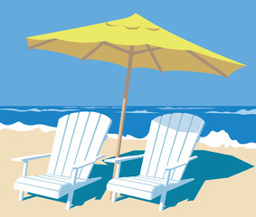 lounge chairs and parasol on the beach