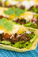 Shredded beef taco trays with salsa, sour cream and cheese