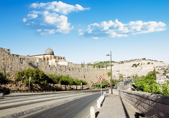 Al Aqsa Mosque in Jerusalem and the Mount of olives
