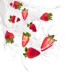 Papiers peints Dans la glace Strawberries in milk splash, isolated on white background