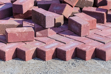 Red bricks on a construction site