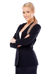 Cute blond business woman on white