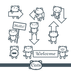 Cats Icons 9 Vector Symbols Set: arrows