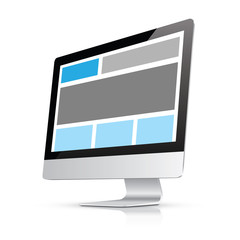 Fully responsive web design in desktop computer vector eps10