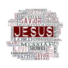 Jesus Religious Words isolated on white