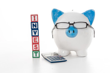 Blue and white piggy bank wearing glasses with invest building b
