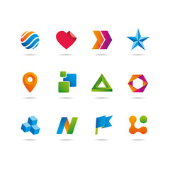logo and icons set, heart, arrows, star, sphere, cube and lag