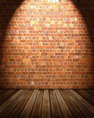 Wooden Floor against Brick Wall