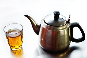 Teapot with hot tea