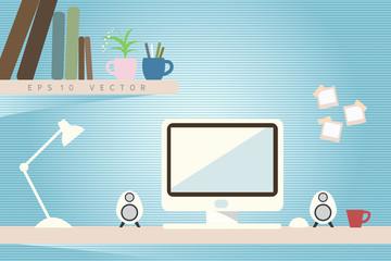 computer in workspace, vector