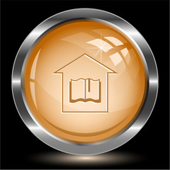 Library. Internet button. Vector illustration.