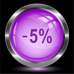 -5%. Internet button. Vector illustration.