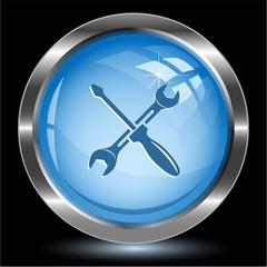Screwdriver and spanner. Internet button. Vector illustration.
