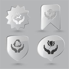 Animal icon set. Protection nature, deer in hands, bird in hands