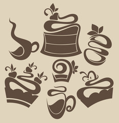 Vector collection of cakes and sweet drinks