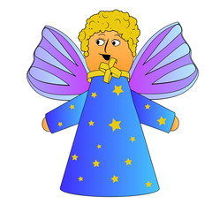 cartoon angel with curly hairs vector