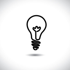 Incandescent simple black line light bulb icon symbol graphic. T