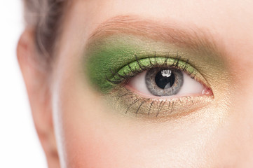Woman eye with green makeup