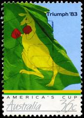AUSTRALIA - CIRCA 1986 Boxing Kangaroo Flag