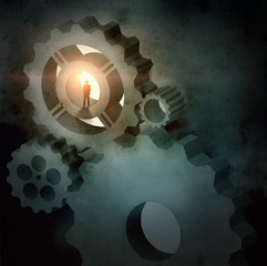 Businessman silhouette in picture of mechanism