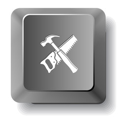 Hand saw and hammer. Vector computer key.