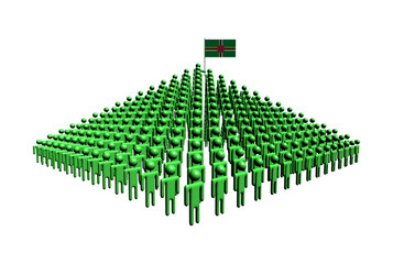 Pyramid of abstract people with Dominica flag illustration