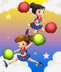Two cheerdancers