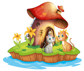 Aluminium Prints Magic world A mushroom house with two cats