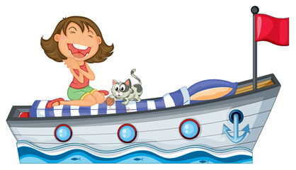 A boat with a girl and a cat