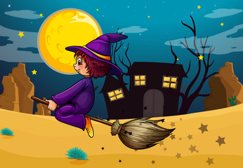 A witch riding in her broom
