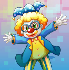A clown with a colorful costume