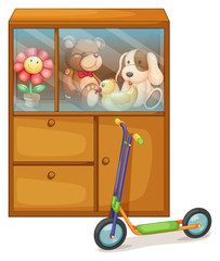 A cabinet full of toys at the back of a scooter