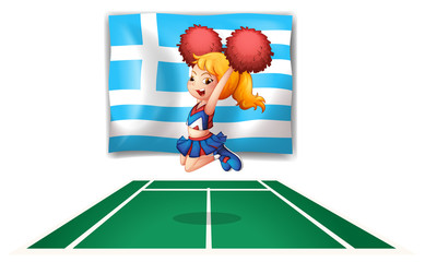 A cheerdancer in front of the flag of Greece
