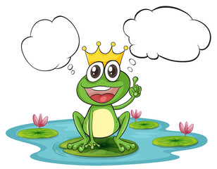 A thinking frog with a crown