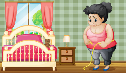 A sad fat lady inside her bedroom