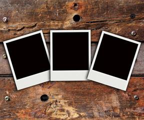 polaroid photo on wood background