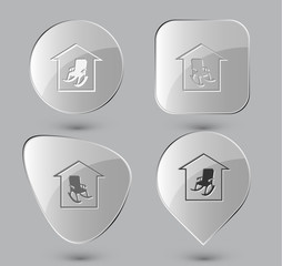 Home comfort. Glass buttons. Vector illustration.