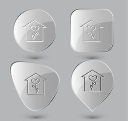 Flower shop. Glass buttons. Vector illustration.