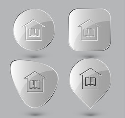 Library. Glass buttons. Vector illustration.