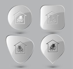 Nursing home. Glass buttons. Vector illustration.