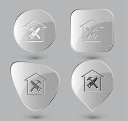 Workshop. Glass buttons. Vector illustration.