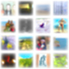 Mosaic backgrounds. Set of 16 square elements.