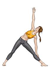 Girl in a yoga triangle pose (Utthita trikonasana)