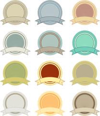 Vector vintage circular badges pack
