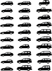 Vector pack with various car silhouettes
