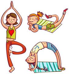 Training yoga girls. Fitness women club