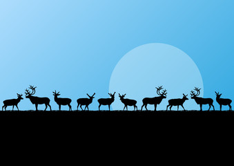 Reindeer herd in cold northern landscape illustration background
