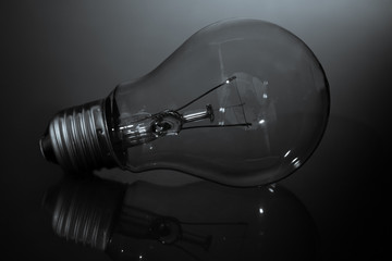 Clear light bulb laying on its side in black and white