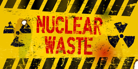 nuclear waste warning sign, rotten and grungy, vector